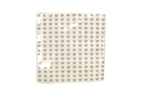Pack/20 Paper Napkins - White/Grey Hearts