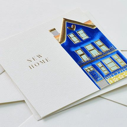 New Home Card - Blue House Foil