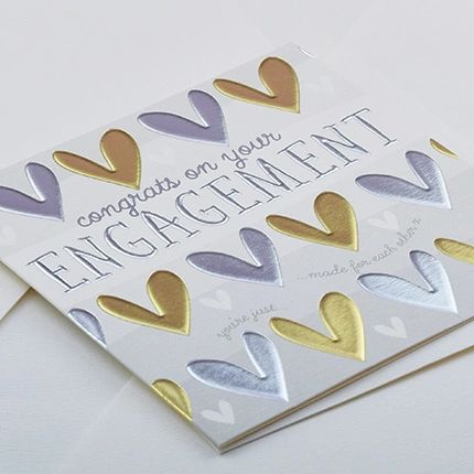 Congratulations Engagement Hearts Card