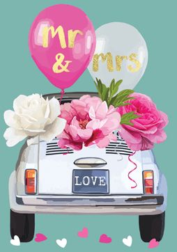 Mr & Mrs Car Card