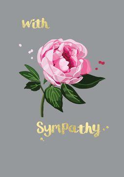 With Sympathy Flower Card