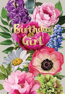 Birthday Girl Flowers Card FF04