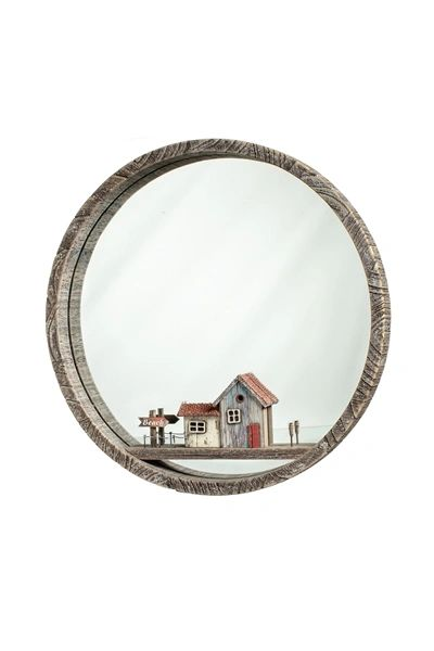 Round Mirror with Beach Hut