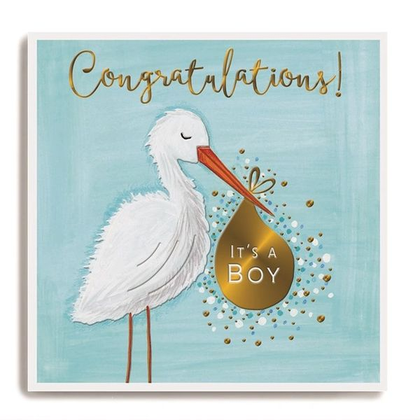 Stork holding bag blue - Congratulations it's a boy