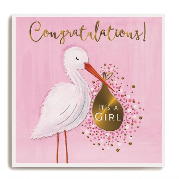 Stork holding bag pink - Congratulations it's a girl