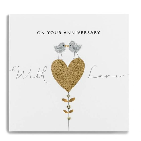 On Your Anniversary With Love Heart/Love Birds