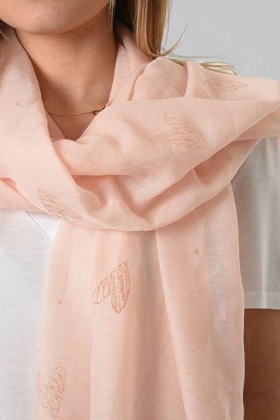 Light Pink Rose Gold Heart Scarf