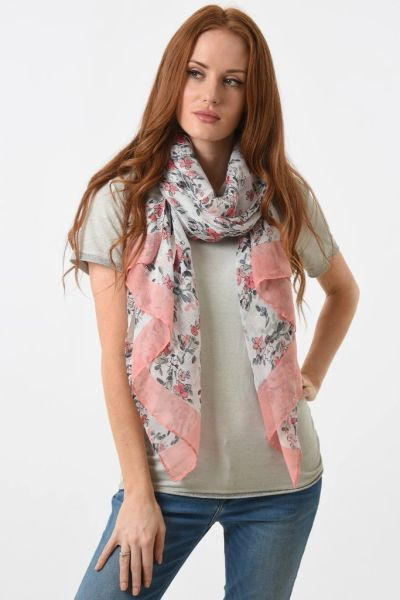 Dainty Pink Floral Scarf