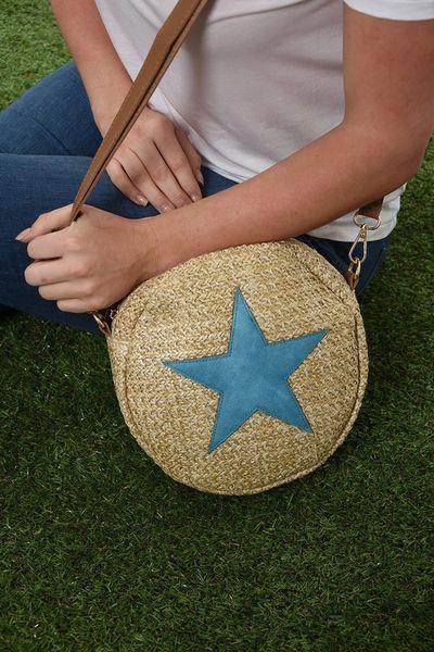 Blue Star Round Straw Bag