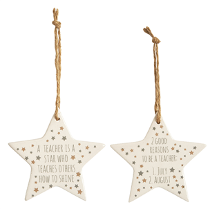 Teacher ceramic star decoration - choose from 2 designs