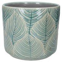 Blue Leaf Ceramic Pot Medium