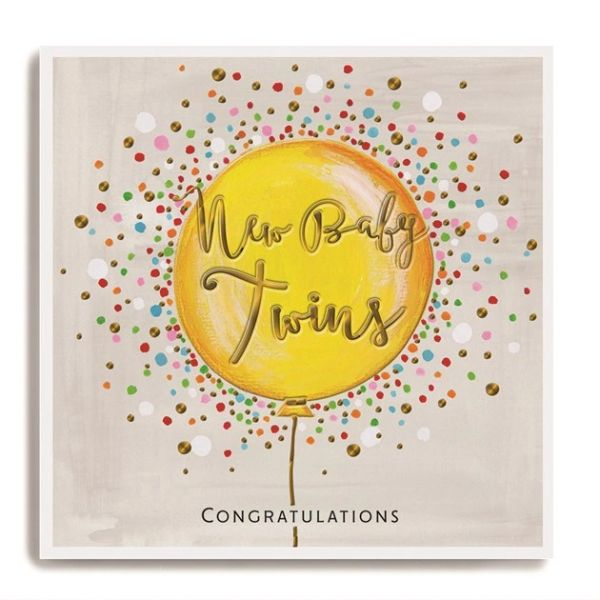 Large yellow balloon - New baby twins congratulations