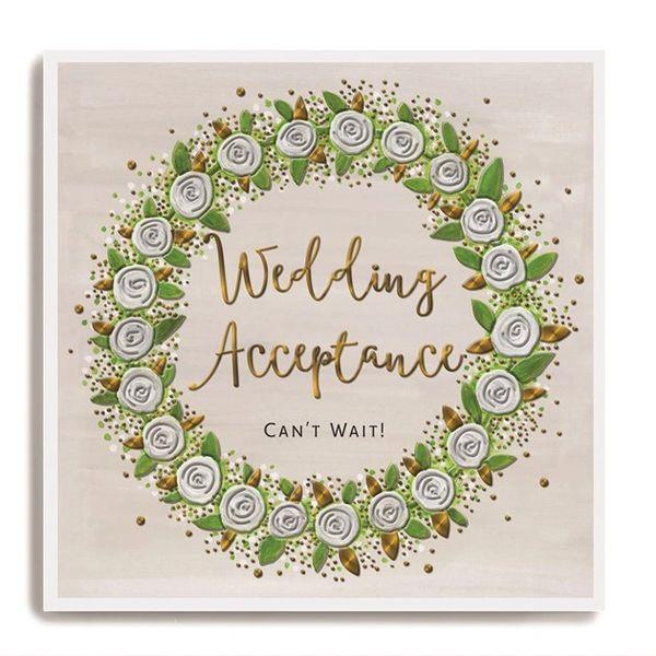 White flower wreath - Wedding acceptance, can't wait