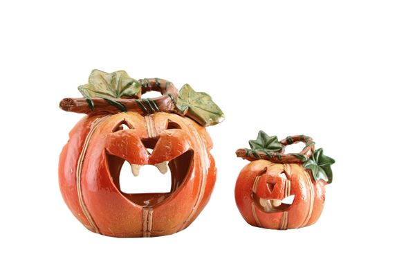 Ceramic Pumpkin Tealight Holder - choose size