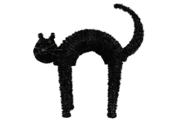Black Tinsel Standing Cat (37.5 x 43cm)
