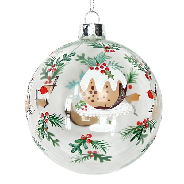 Clear Glass Ball with Plum Pudding Design