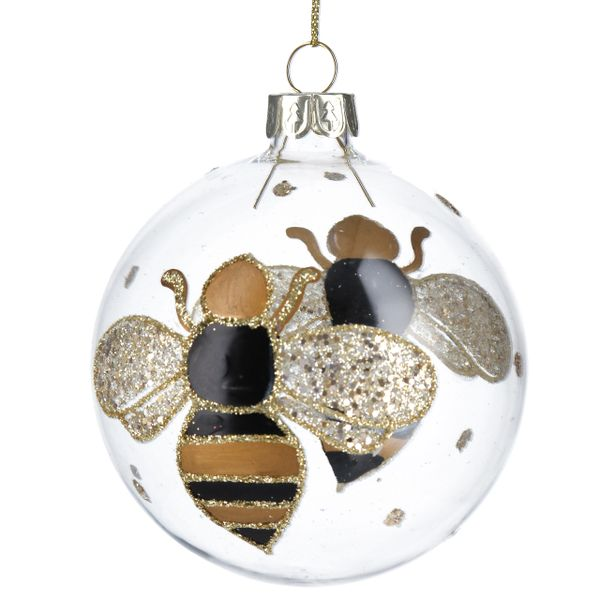 Clear Glass Ball with Black/Gold Bumble Bee Design