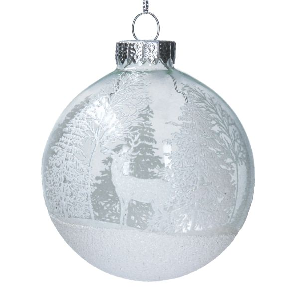 Clear Glass Ball with White Trees & stag design WOODLAND
