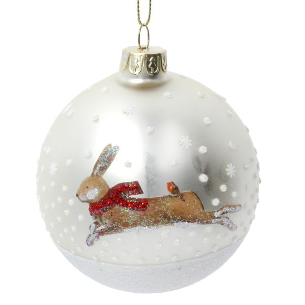 Beautiful Glass Bauble with Hare Design with Robin