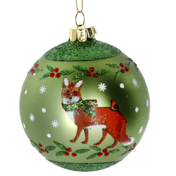 Beautiful Fox with Robin Glass Bauble