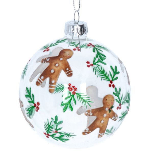 Clear Glass Ball with Gingerbread Men Design