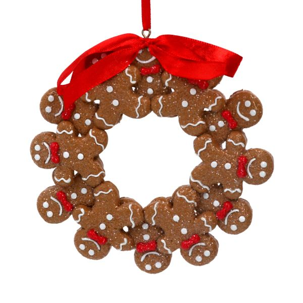 Gingerbread Men Wreath Decoration with Ribbon 11cm