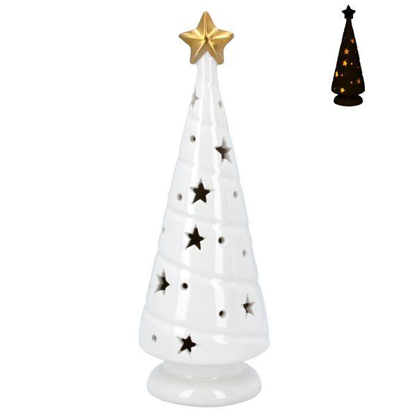 White Ceramic LED Christmas Tree with gold star 22cm