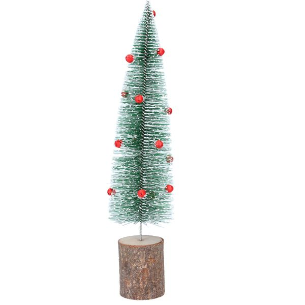 Green Bristle Tree with red bells on wooden base - large 31cm