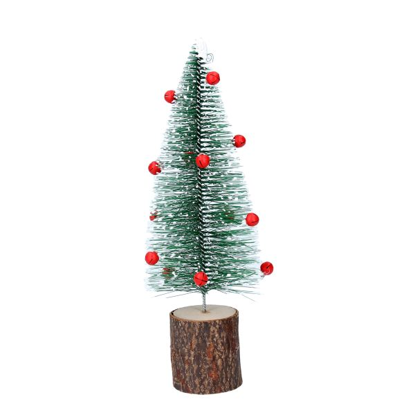 Green Bristle tree with red bells on wooden base - small 21cm