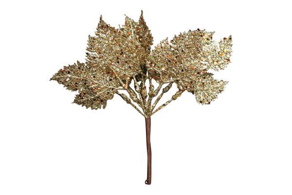 Gold Glitter Leaf Pick
