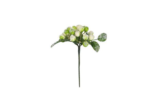 Snowy White/Green Berry Leaf Pick