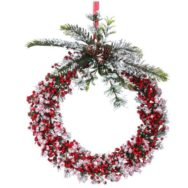 Red Snowy Berry/Leaf Wreath 24cm