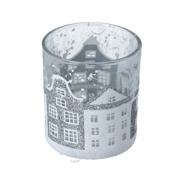 Clear Glass Tealight Holder with White Glittery Houses 8cm