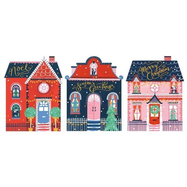 Christmas Festive Houses Trio Card Pack
