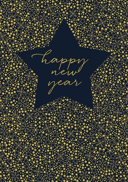 New Year Card - Gold Foil Star