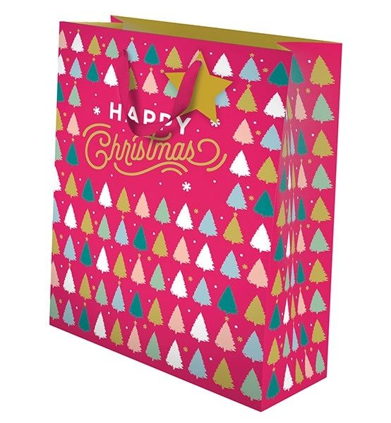 Happy Christmas Gift Bag Red - Large