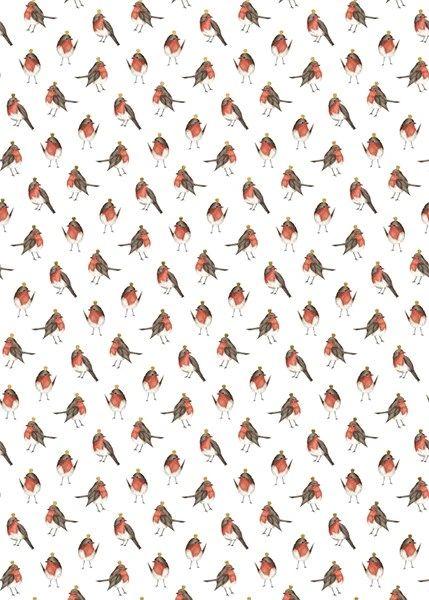 Christmas Robins Roll Wrap 3m