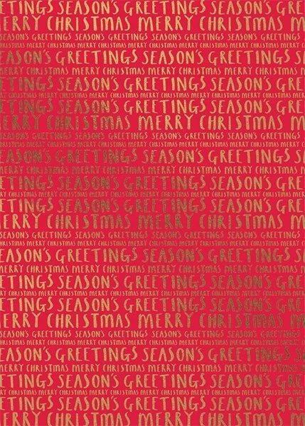 Seasons Greetings, Merry Christmas Roll Wrap 3m