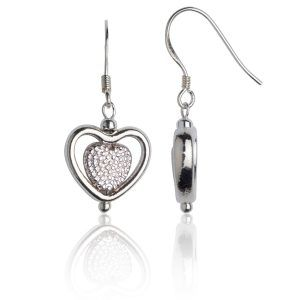 Pitted and encased heart earrings