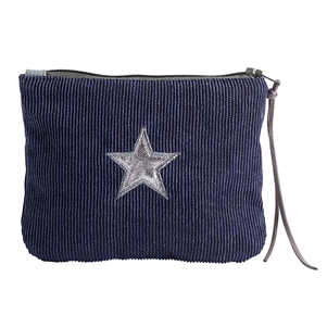 Navy corduroy star purse