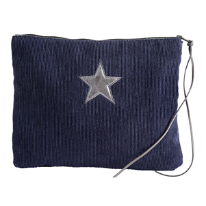 Navy corduroy star make-up bag