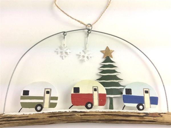 Caravans & tree on twig