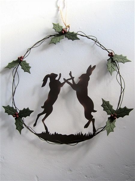 Boxing Hares Wreath