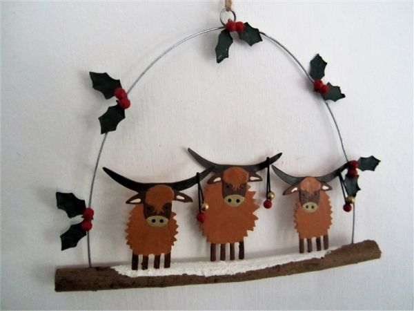 Highland Coos with Baubles