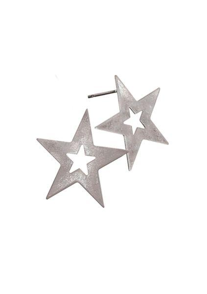 Star Frame Stud - Worn Silver