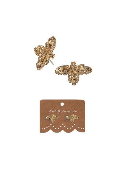 Mini Honey Bee Studs - Worn Gold