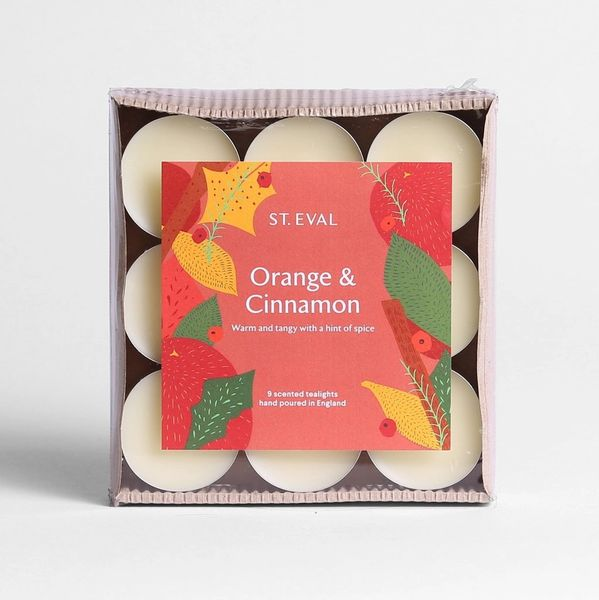 Orange & Cinnamon Scented Tealights, box of 5