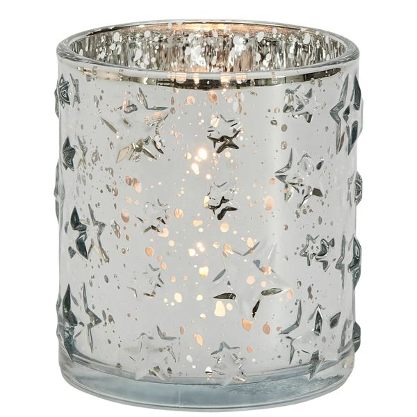 Embossed stars silver votive holder