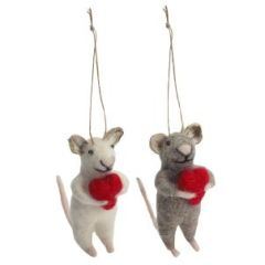 Grey Felt mouse with heart decoration