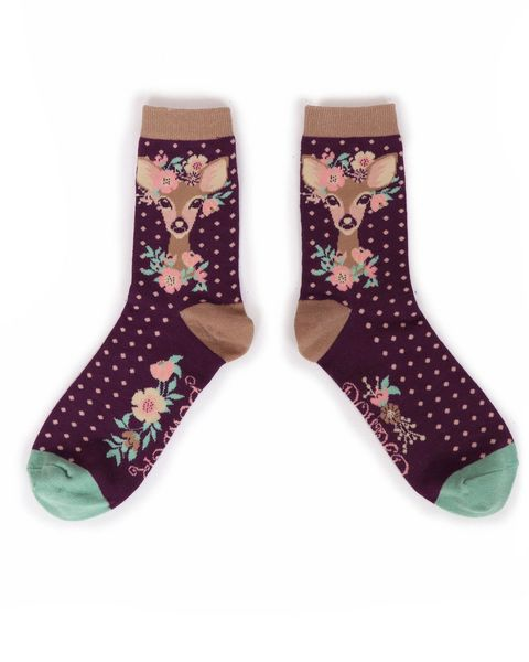 Floral Deer Ankle Sock